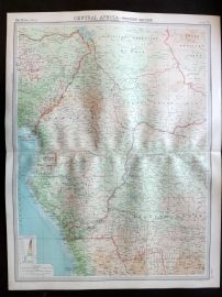 Bartholomew 1922 Large Map. Central Africa, Western Section.